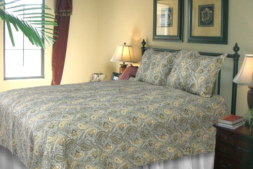 [Lush Green Ferns] 100% Cotton 2PC Classic Floral Vermicelli-Quilted Quilt Set (Twin Size)