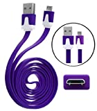 Wayzon Quality New Purple Flat High Speed Sync Micro USB Data Cable Lead Charger Suitable For Nokia 2690 / 2700 classic / 2710 Navigation Edition / 2730 classic / 3120 classic / 3208c