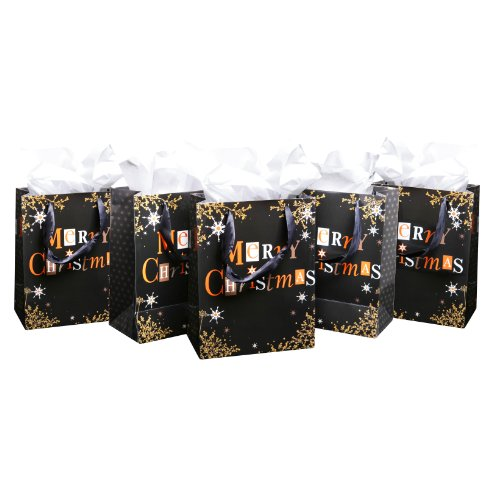 MyGift Merry Christmas Black / Gold Holiday Season Party Gift Bags and Tissues - Set of 5