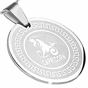 Stainless Steel Greek Key Capricorn Zodiac Sign Circle Pendant