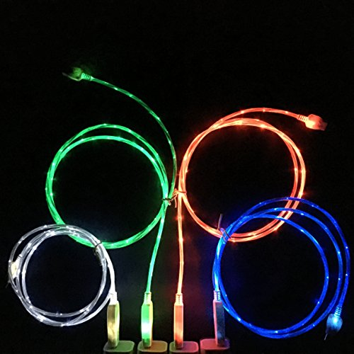 Flowing LED Glow in the Dark Light Up Visible Charging Cable 8 pin for iPhone 5, iPhone 6, iPhone 6 Plus (4-Pack (1 of each color)) (Cool Glow For Iphone 4 compare prices)