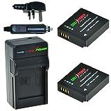 ChiliPower Panasonic DMW-BLH7, DMW-BLH7E, DMW-BLH7PP Kit: 2x Battery (700mAh) + Charger (UK Plug) for Panasonic Lumix DMC-GM1