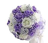 Amazon.co.jpウェディングブーケ 清楚で かわいい バラ の ブーケ 造花 結婚式 ブライダル 花束 フラワー (3.パープル)