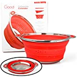 Collapsible Silicone Colander with Stainless Steel Base by Good Cooking