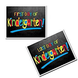 First Day & Last Day of Kindergarten School Photo Prop - Primary Chalkboard Text Choose from Preschool to College (Kindergarten)