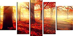 Startonight Canvas Wall Art Daydream Red Morning in the Forest, Nature Painting USA Design for Home Decor, Modern Framed Set of 5 Total 35.43 X 70.87 Inch
