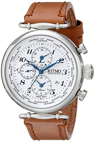 Ritmo-Mundo-Unisex-7042-SS-White-World-Time-Analog-Display-Quartz-Brown-Watch