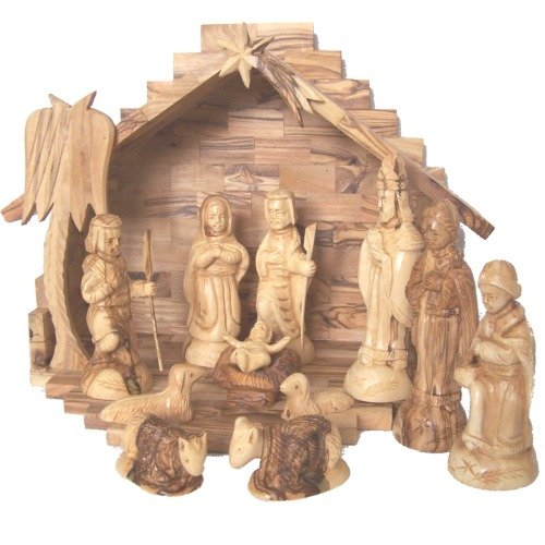Wooden Hand Carved Nativity Sets ~ Deluxe olive wood nativity set hand carved in bethlehem
