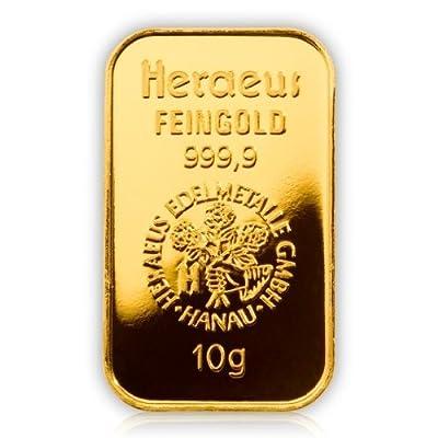 GOLDBARREN 10 Gramm / 10g Heraeus / Umicore MOTIV GOLDBARREN Gramm Gold Barren Feingold 999,9 er geblistert im Scheckkartenformat --- Das wertbeständige Geschenk für die lebenslange Erinnerung an freudige Ereignis