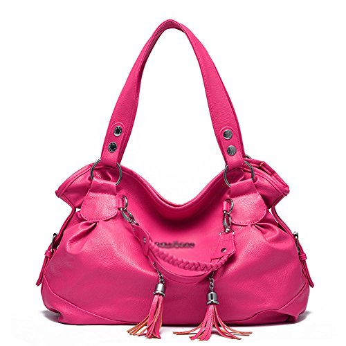 hifish-hb10015-pu-leather-handbag-for-womenclassic-leisure-gift-shoulder-bagshotpink