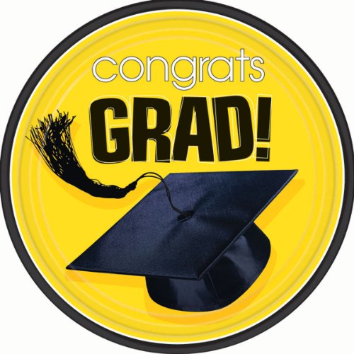 Congrats Grad Yellow Lunch Plates 18ct - 1