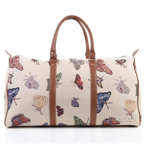 Signare <strong>Womens< strong> Fashion Canvas Tapestry Big Holdall Weekender Luggage <strong>Bag< strong> in Butterfly Design