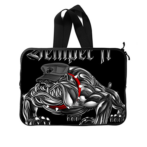 JIUDUIDODO Custom Christmas Gifts USMC United States Marine Corps Iron Bulldog Black Neoprene Laptop Sleeve 15