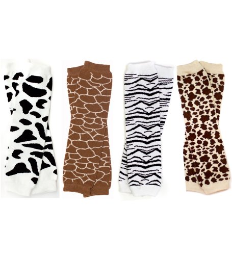 animal print baby leg warmers set of 4 giraffe cow zebra leopard apparel accessories. Black Bedroom Furniture Sets. Home Design Ideas