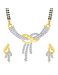 VK Jewels Three Lines Gold And Rhodium Plated Mangalsutra Pendant With Earrings-MP1071G [VKMP1071G]