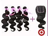 Junhair 4Pcs/lot Virgin Malaysian Remy Human Hair 3 Bundles Hair Weaves Mixed Length With 1Pc 4x4 Closure Body Wave Natural Color
