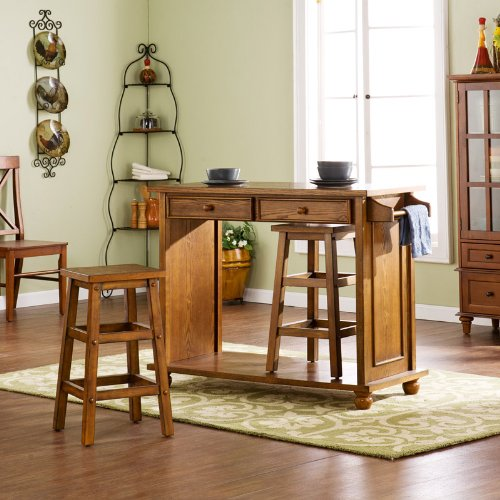 Image of Southern Enterprises 3 Piece Breakfast Bar Set in Rich Brown Oak (KA1112)