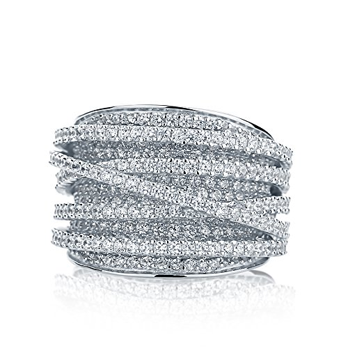 Sterling-Silver-Intertwined-Design-CZ-Beautiful-Pave-Set-Right-Hand-Ring-15mm
