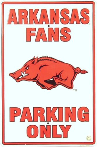 PARKING SIGN. UNIVERSITY OF ARKANSAS RAZORBACKS 12X18 METAL PARKING SIGN at Amazon.com
