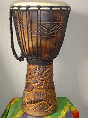"20"" X 10-11"" Deep Carved Djembe Drum DRAGONS with Free Cover"