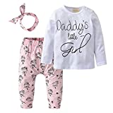 Derouetkia Newborn Baby Girls 3Pcs Outfit Set Letters Daddy Little Girl T-Shirt Tops Cartoon Pants With Headband (80(9-12 Months))