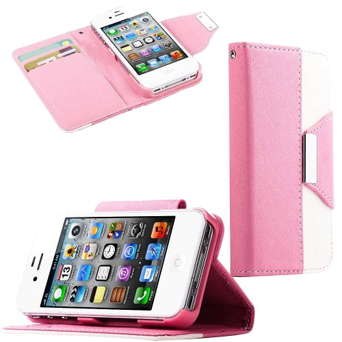 Mylife (Tm) Light Pink And White Classy Design - Textured Koskin Faux Leather (Lanyard Strap + Card And Id Holder + Magnetic Detachable Closing) Slim Wallet For Iphone 4/4S (4G) 4Th Generation Touch Phone (External Rugged Synthetic Leather With Magnetic C