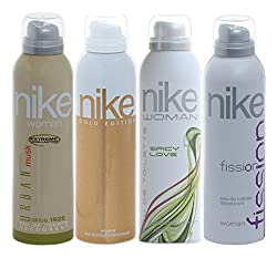Nike Women Deo Set, 4x200ml (Fission, Spicy Love, Urban Musk and Gold Edition)(pack of 4)