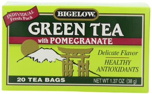 Bigelow Green Tea with Pomegranate 20-Count Boxes (Pack of 6)