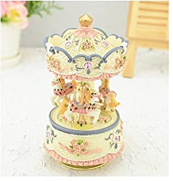 Aiskaer 3-horse Carousel Music Box,Play the Castle in the Sky Tune,best gift,Color is blue