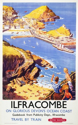 British Railways Travel Railway Poster Art Print, Ilfracombe in Glorious Devon's Ocean Coast