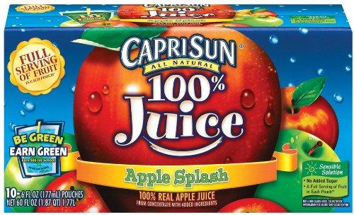 Capri Sun 100% Juice, Apple, 10-Count, 6-Ounce Pouches (Pack of 2)