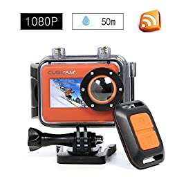 1080P 60fps Action Camera Wifi 16MP HD Waterproof 167ft Sports Video Camera with Front Screen and Built-in MIC and Speaker