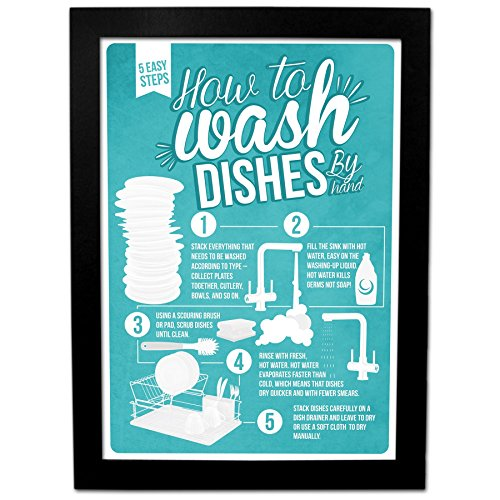how-to-wash-dishes-infographic-poster-a4-framed-christmas-xmas-stocking-filler-secret-santa-present