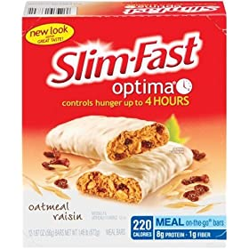 Slim-Fast Optima Meal Bar, Oatmeal Raisin, 1.97-Ounce Bars in 12-Count Boxes