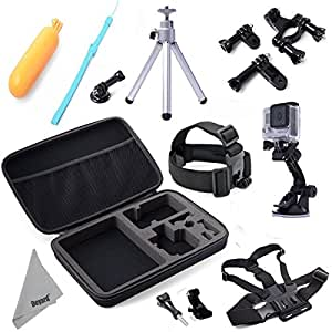 Deyard ZG-645 GoPro Accessories Mount Kit 15pcs Bundle for GoPro HD Hero 1 2 3 &3+ Hero4 Session Hero 4 Silver Black Edition: Head Strap +Chest harness w/ J-Hook Mount +Car Suction Cup w/ Adapter +Bike Mount +Case XL +Aluminum Tripod +Deyard Float Grip +Cleaning cloth