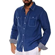 Double pockets lined navy linen shirt