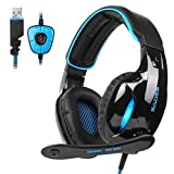 SADES Newest SA902 7.1 Channel Virtual Surround Sound USB Gaming Headset Over-ear Headphones with Noise Isolating Mic LED Light for PC Mac Computer Gamers(Black Blue) (Color: SA902Blue)
