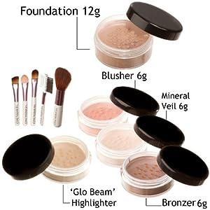 Bare skin minerals natural mineral makeup, MEDIUM BEIGE foundation veil cover 10 piece set
