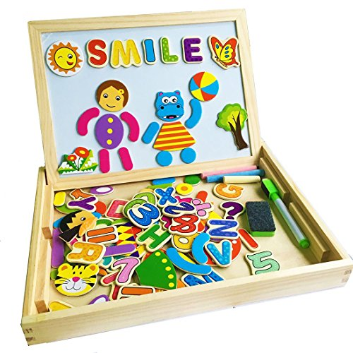 YIXIN Wooden Magnetic Drawing Sketchpad Board with 90 Pieces Animal Letters Numbers Multi-functional Chalkboard Educational Toys for kids 3 Years Old+ (style B)