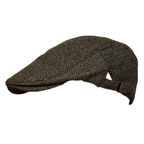 Mens Tweed Flat Cap with adjustable sizing strap GREY HERRING