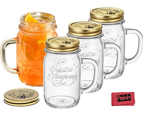Italian Glass Mason jar Mugs 14 Oz. [4 Piece Set] Drinking Jar With Gold Lid and Handle - Great Everyday Drinking Glasses, and For Presenting Gifts - Bundled with Cloth