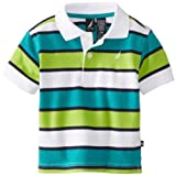 Nautica Baby-Boys Infant Bold Short Sleeve Stripe Polo, Sea Blue, 12 Months