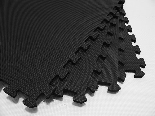 "48 Square Feet ( 12 tiles + borders) 'We Sell Mats' Black 2' x 2' x 3/8"" Anti-Fatigue Interlocking EVA Foam Exercise Gym Flooring"