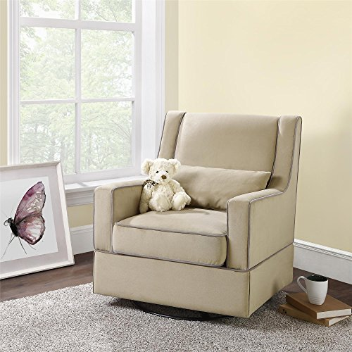 Baby Relax The Sydney Nursery Microfiber Swivel Glider Chair And Free Lumbar Pillow, Beige front-204733