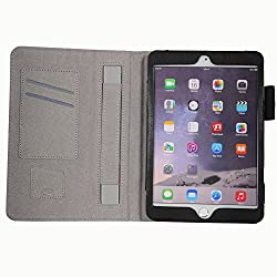 HOKO Black Leather Flip Cover Book Case with Card Slot and magnetic closure for Apple iPad mini 3 (Auto wake and sleep)