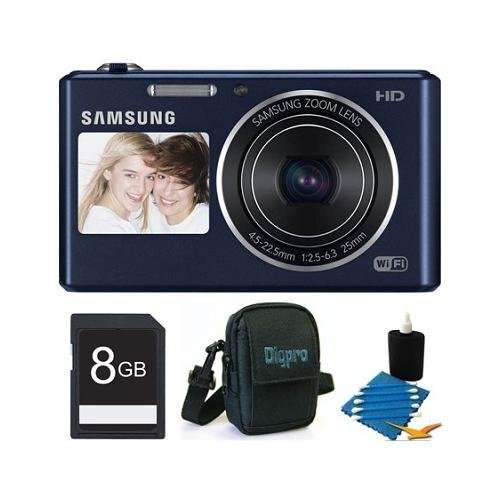 51I1YjyVJ1L Samsung DV150F Dual View 16.2 MP Smart Camera with Built in Wi Fi   Black Deluxe Bundle With 8 GB Memory Card, Card Reader, Deluxe Carrying Case, Mini Tripod, Lens Cleaning Kit.