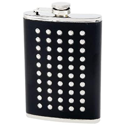 New Maxam 8oz Stainless Steel Flask With Studded Faux Leather Wrap Screw Down Cap White Box
