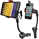 Alpatronix MX100 Universal Car Cradle Dock Station, Mount, Adapter with USB Charger, FM Transmitter and 360° Degree Rotating Gooseneck Holder for Apple iPhone 6 Plus, 6, 5S, 5C, 5, 4S, 4 / Samsung Galaxy S6 Edge, S6, S5, S4, S3, S2, Note 3, Note 2 / iPod Touch, Classic, Nano, Mini, Shuffle / Other Android Smartphones - HTC One, Google Nexus, LG, Nokia Lumia, Blackberry, Sony, Motorola Droid, MP3/MP4 Players and Other Electronic Devices [Comes with Micro USB Cable & LED Display] - (Black / Red)