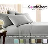 Southshore Fine Linens® 6 Piece - Extra Deep Pocket Sheet Set - STEEL GRAY - Queen