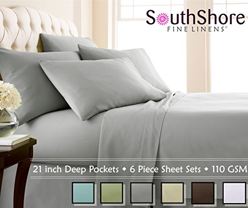 Southshore Fine Linens Extra Deep Pocket Sheet Set, Queen, 6 Piece, Steel Gray (Bed Sheets Deep Pocket Queen compare prices)